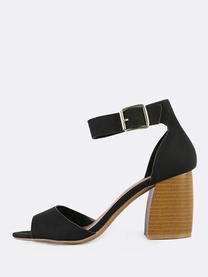 Ankle Strap Open Toe Heels BLACK