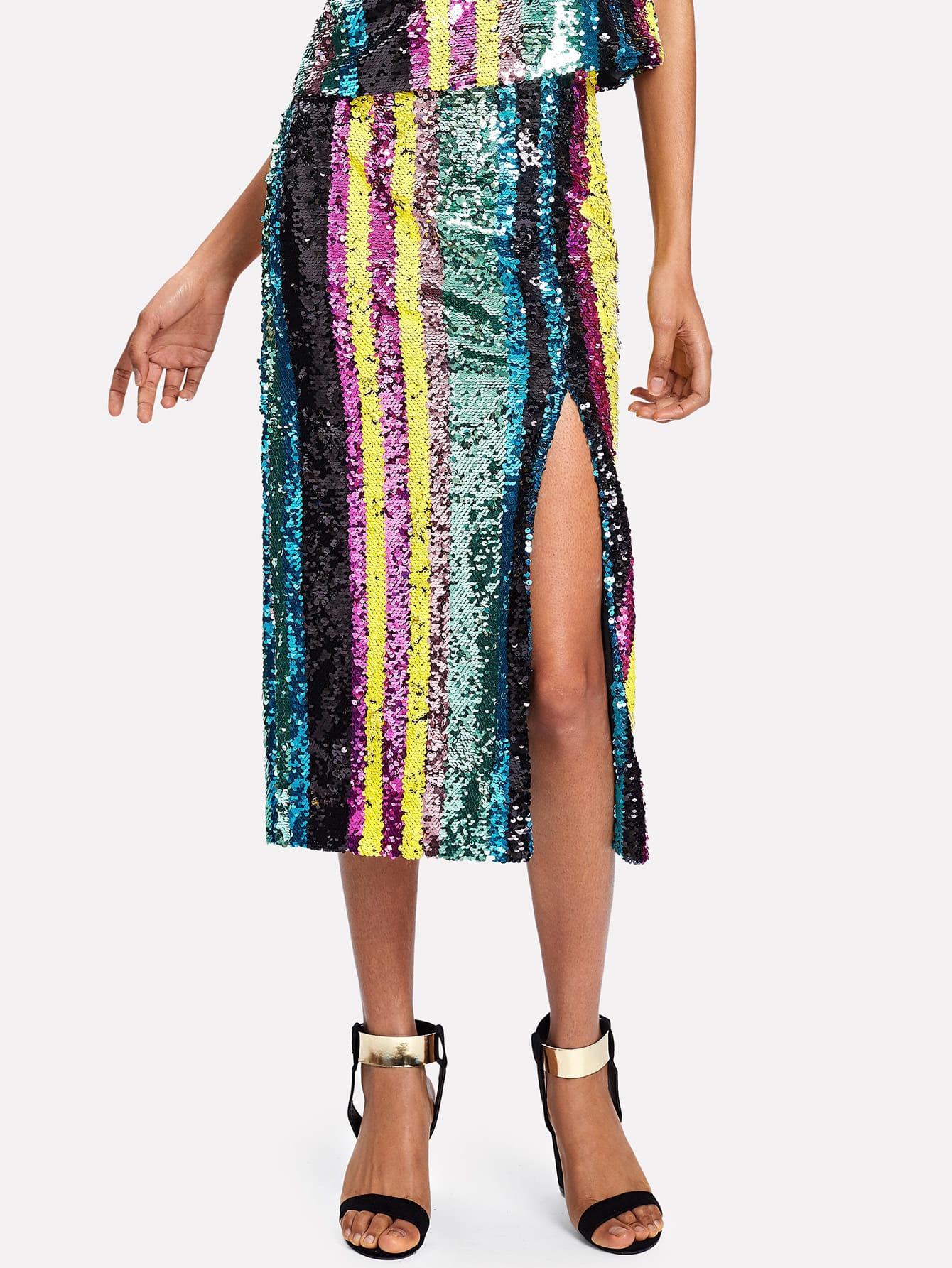 Side Slit Striped Sequin Skirt