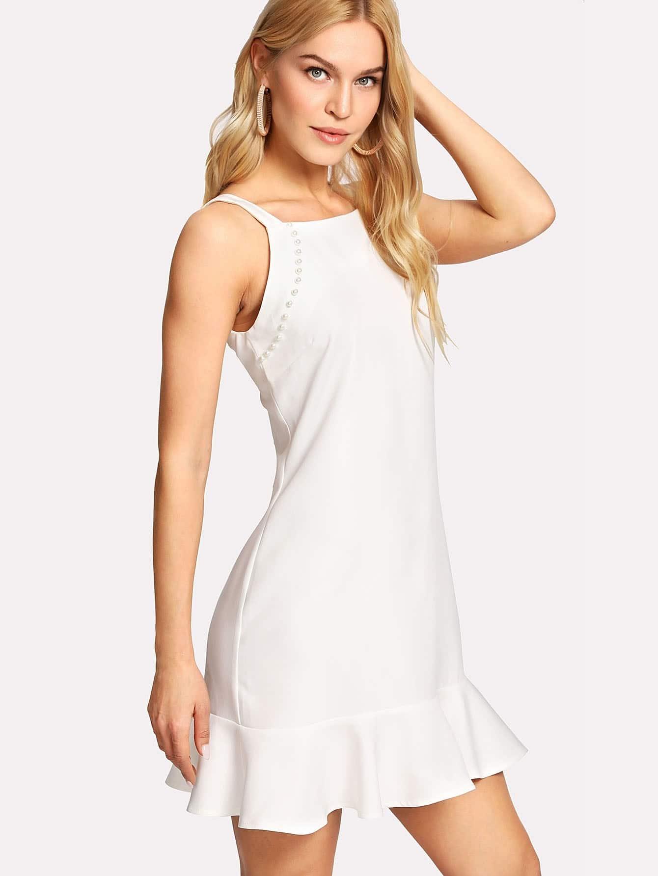 Pearl Beading Ruffle Hem Dress