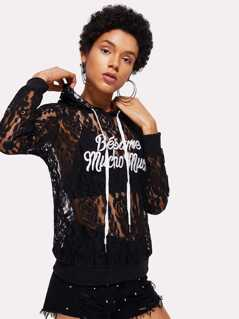 Embroidery Letter Front Lace Hoodie