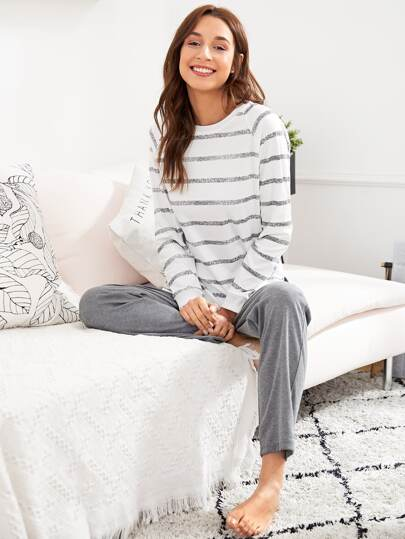 Split Side Striped Tee & Pants PJ Set