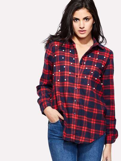 Faux Pearl Detail Dolphin Hem Plaid Blouse