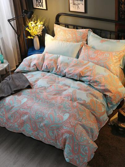 2.0m 4Pcs Paisley Print Duvet Cover Set