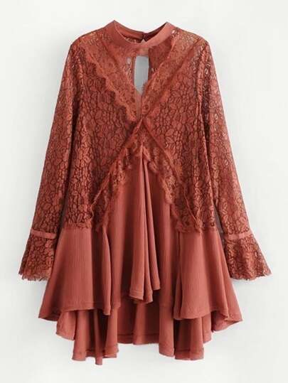 Lace Panel Asymmetrical Dress