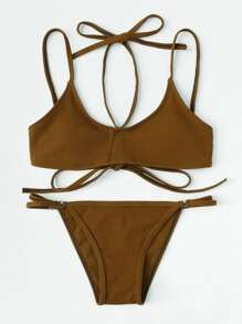 Self Tie Halter Bikini Set
