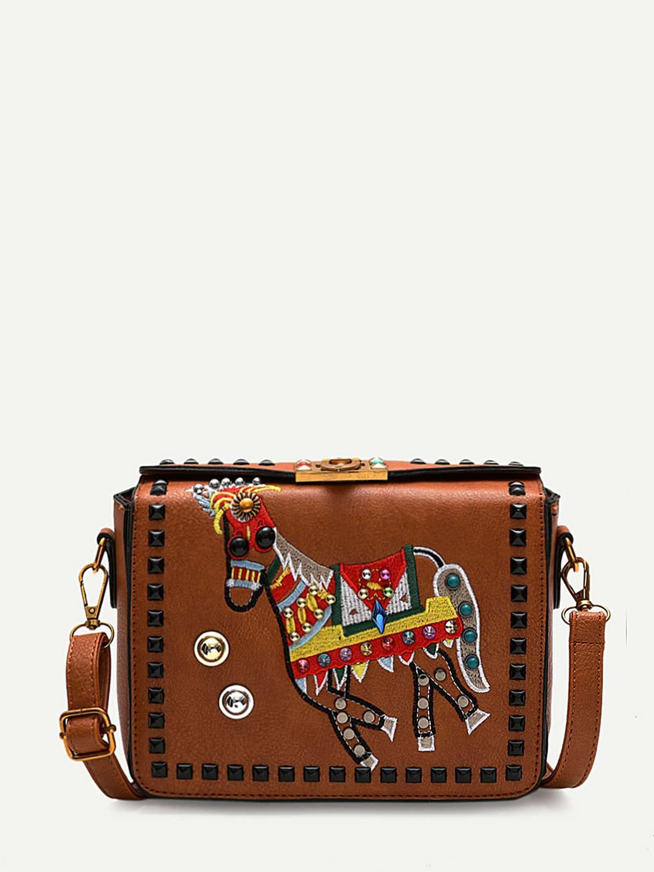 Studded Decor Horse Embroidered Crossbody Bag