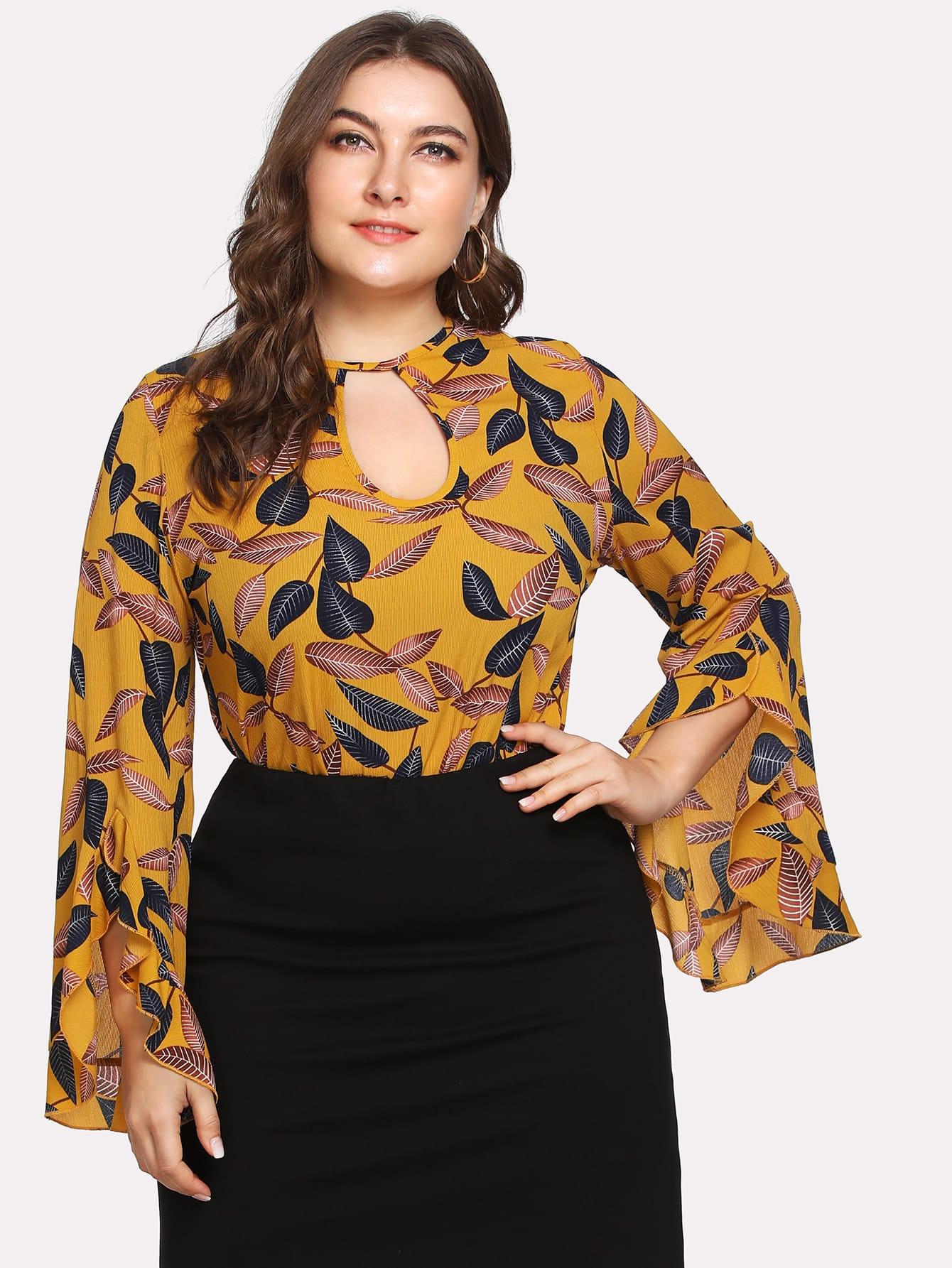 Купить Модная блуза с оборкой и разрезом, Franziska, SheIn