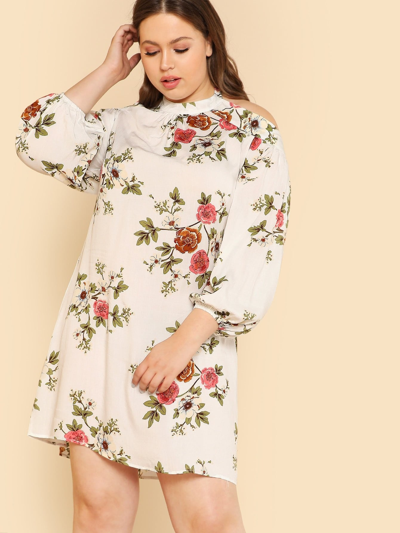 Flower Print Halter Neck Bishop Sleeve Dress bishop sleeve tropical print dress