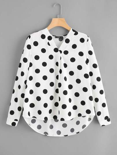 Curved Dip Hem Polka Dot Blouse