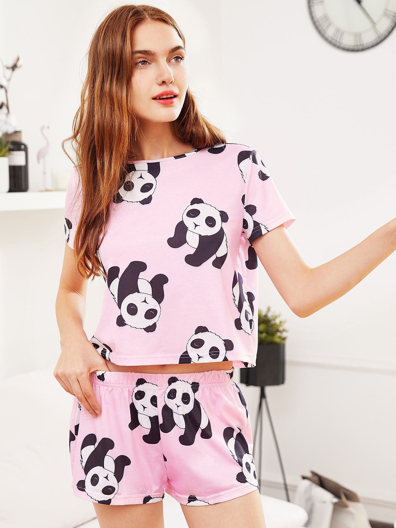 Panda Print Tee And Shorts Pajama Set heart print tee and striped shorts pajama set