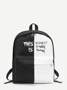 Two Tone Pocket Front Canvas Backpack