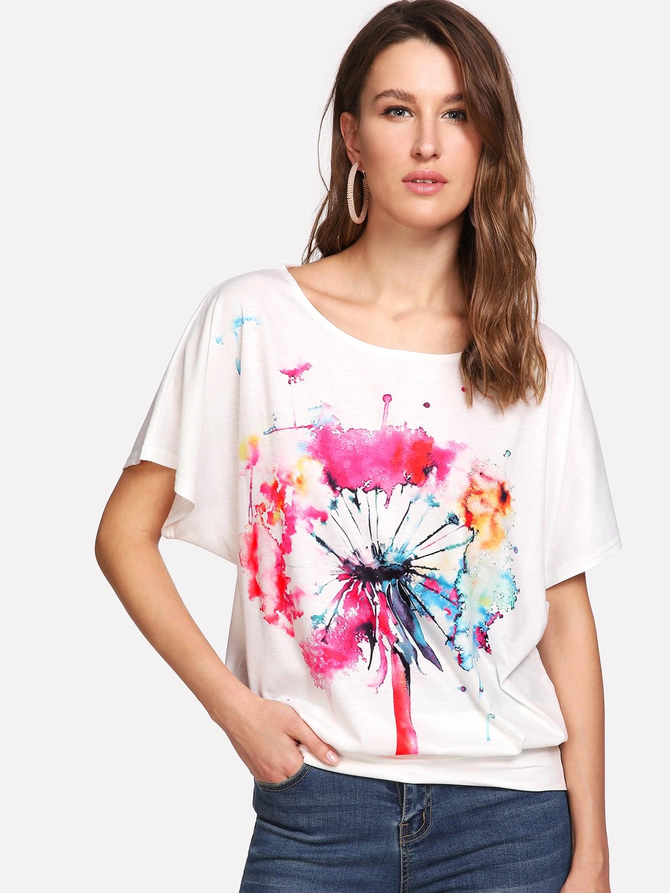 Модная футболка с принтом, рукав-летучая мышь