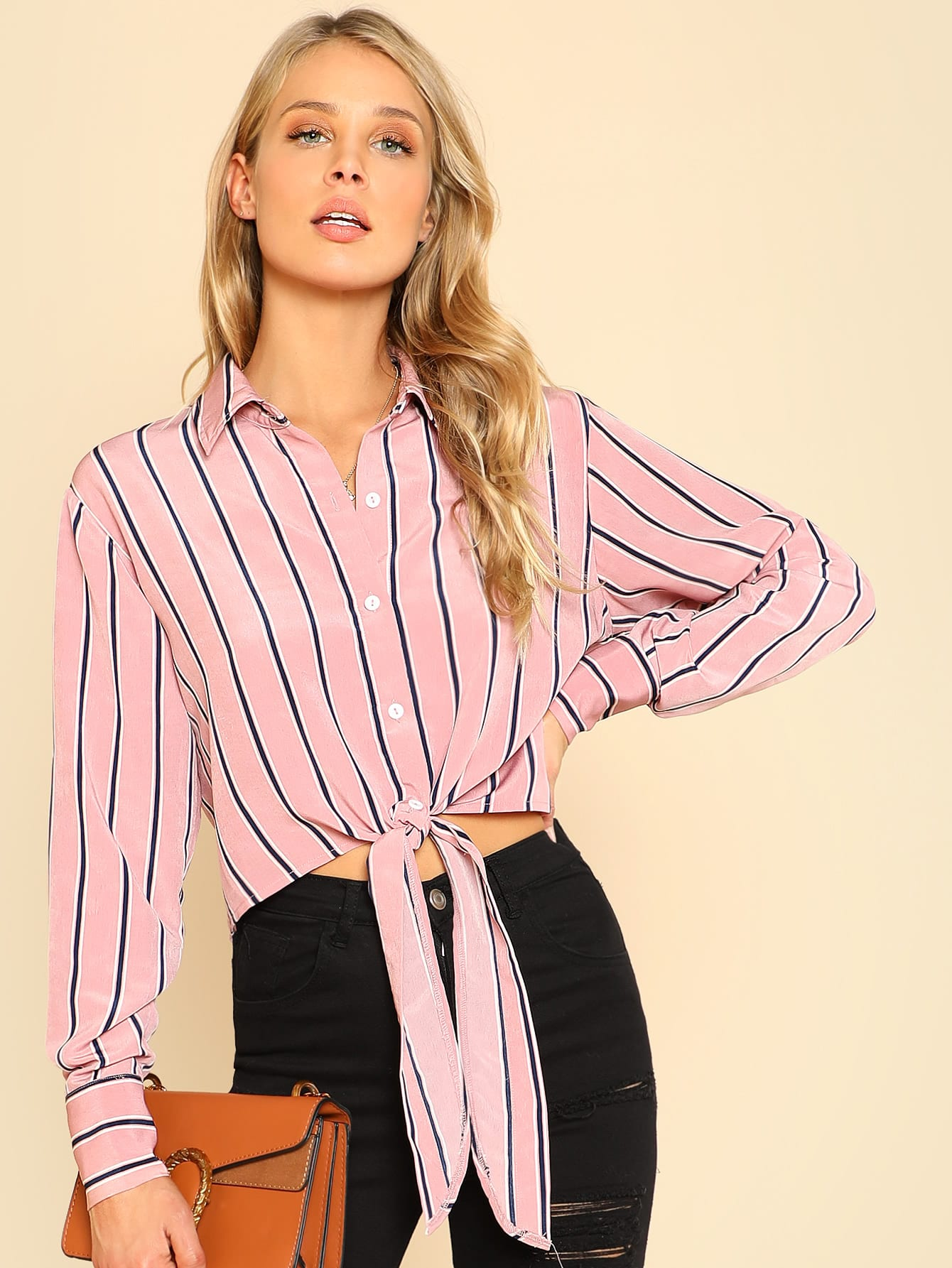 Knot Front Crop Striped Shirt кордщетка атака 22386