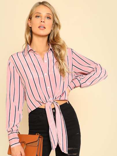 Knot Front Crop Striped Shirt