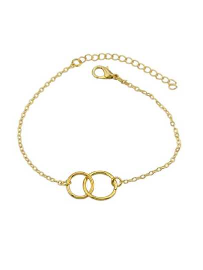 Gold Simple Two Circle Bracelets