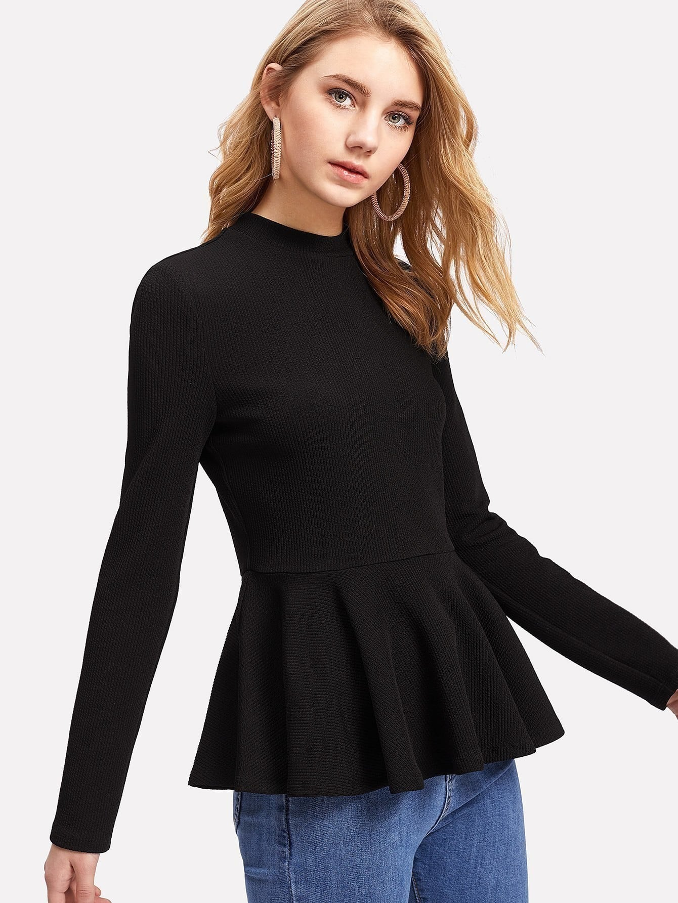 Ribbed Knit Ruffle Hem Peplum Top letter embroidered ribbed knit top