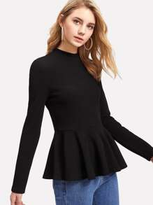 Ribbed Knit Ruffle Hem Peplum Top