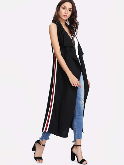 Contrast Striped Tape Side Waterfall Vest