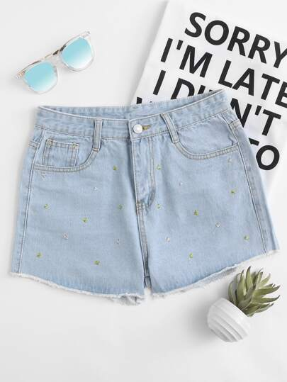 Jeans Shorts mit Stickereien