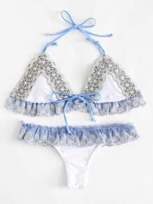 Contrast Lace Ruffle Bikini Set