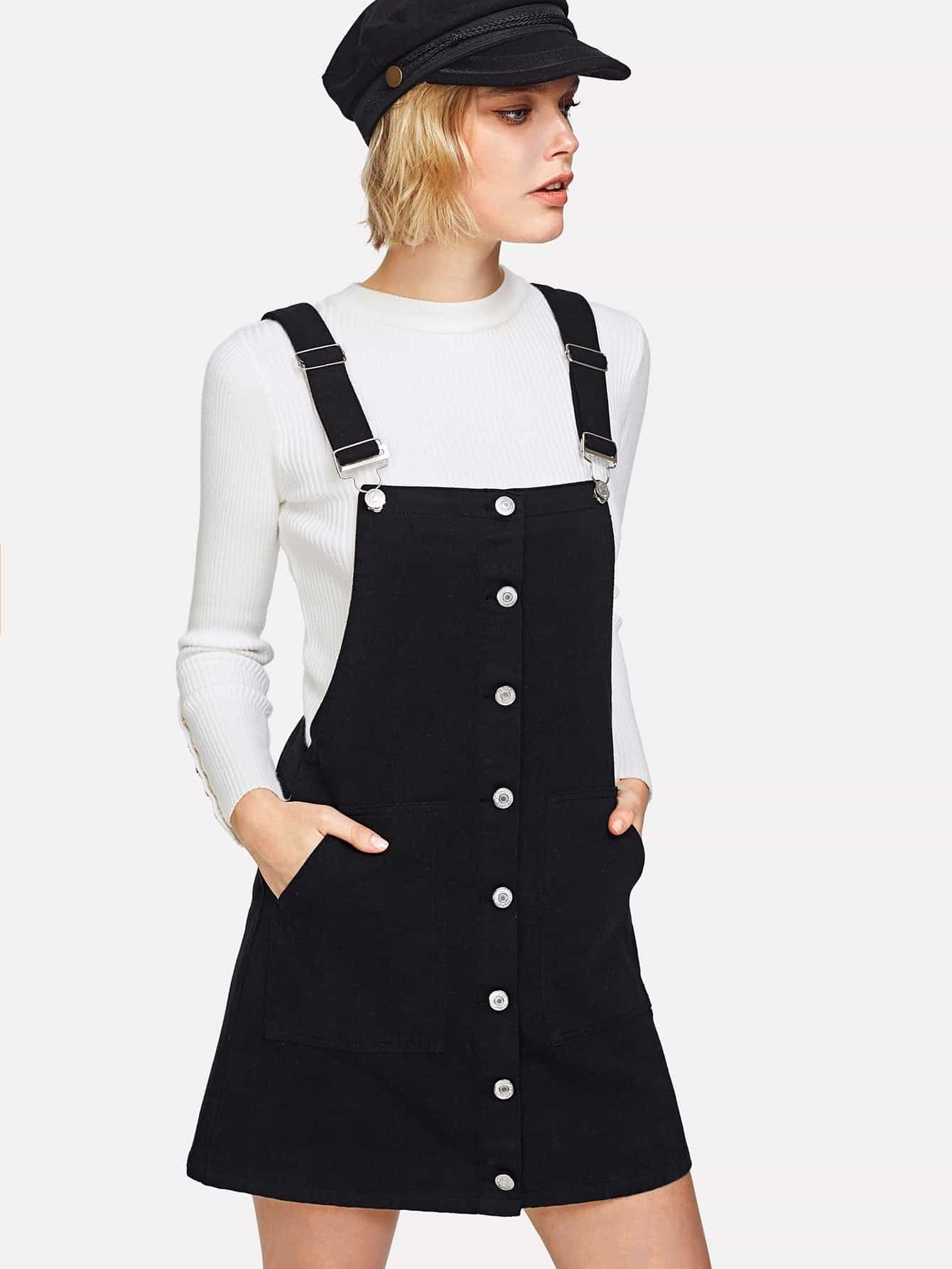 Dual Pocket Overall Denim Dress dress180115032