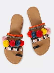 Embellished Slip On Sandal With Toe Ring Design and Pom Poms BLACK
