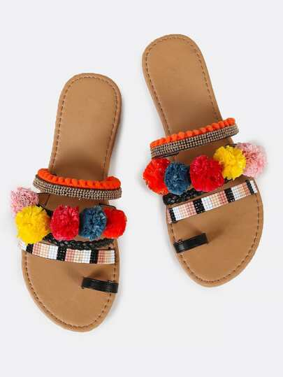 Embellished Slip On Sandal With Toe Ring Design and Pom Poms BLACK