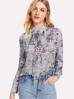 Mixed Print Tied Neck Top
