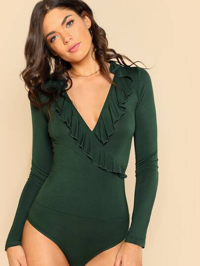 Ruffle Trim Wrap Bodysuit
