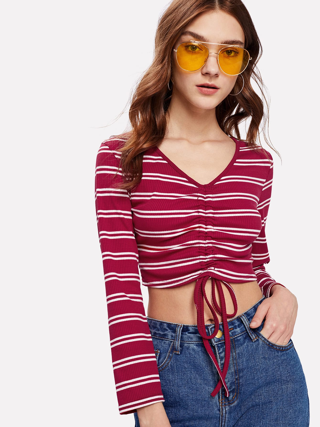 Drawstring Detail Striped Crop Tee striped tape detail crop tee