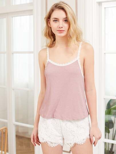 Rib Knit Cami & Lace Shorts Pj Set