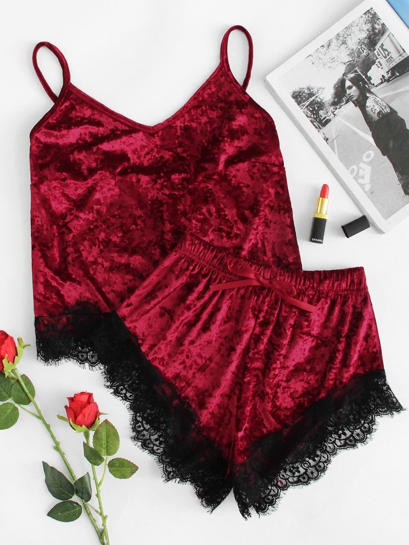 Contrast Eyelash Lace Crushed Velvet Cami PJ Set crushed velvet top and shorts set