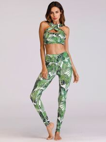 Tropical Print Sports Bra With Leggings