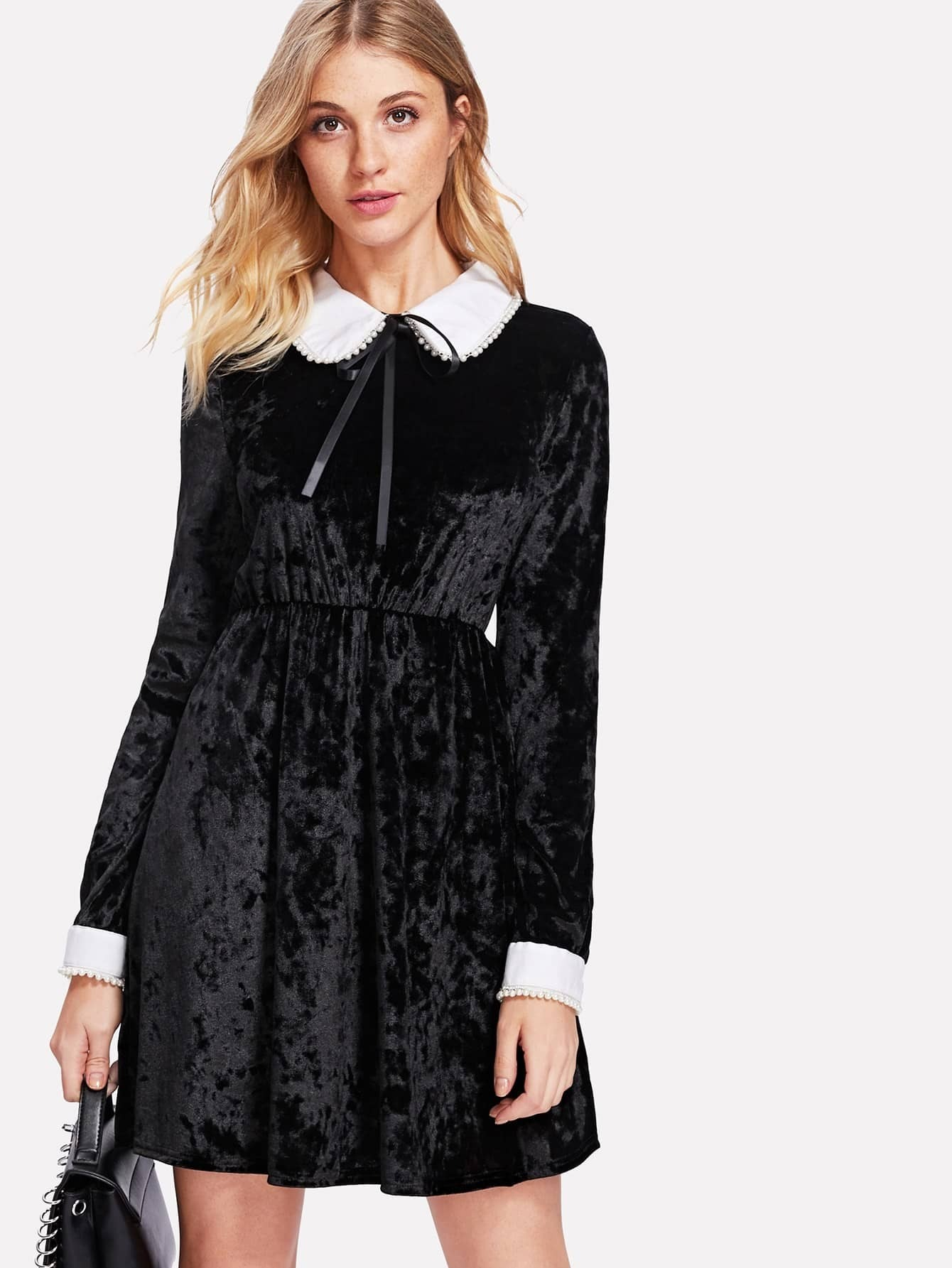 Pearl Detail Contrast Collar And Cuff Velvet Dress frill layered pearl detail sweatshirt dress