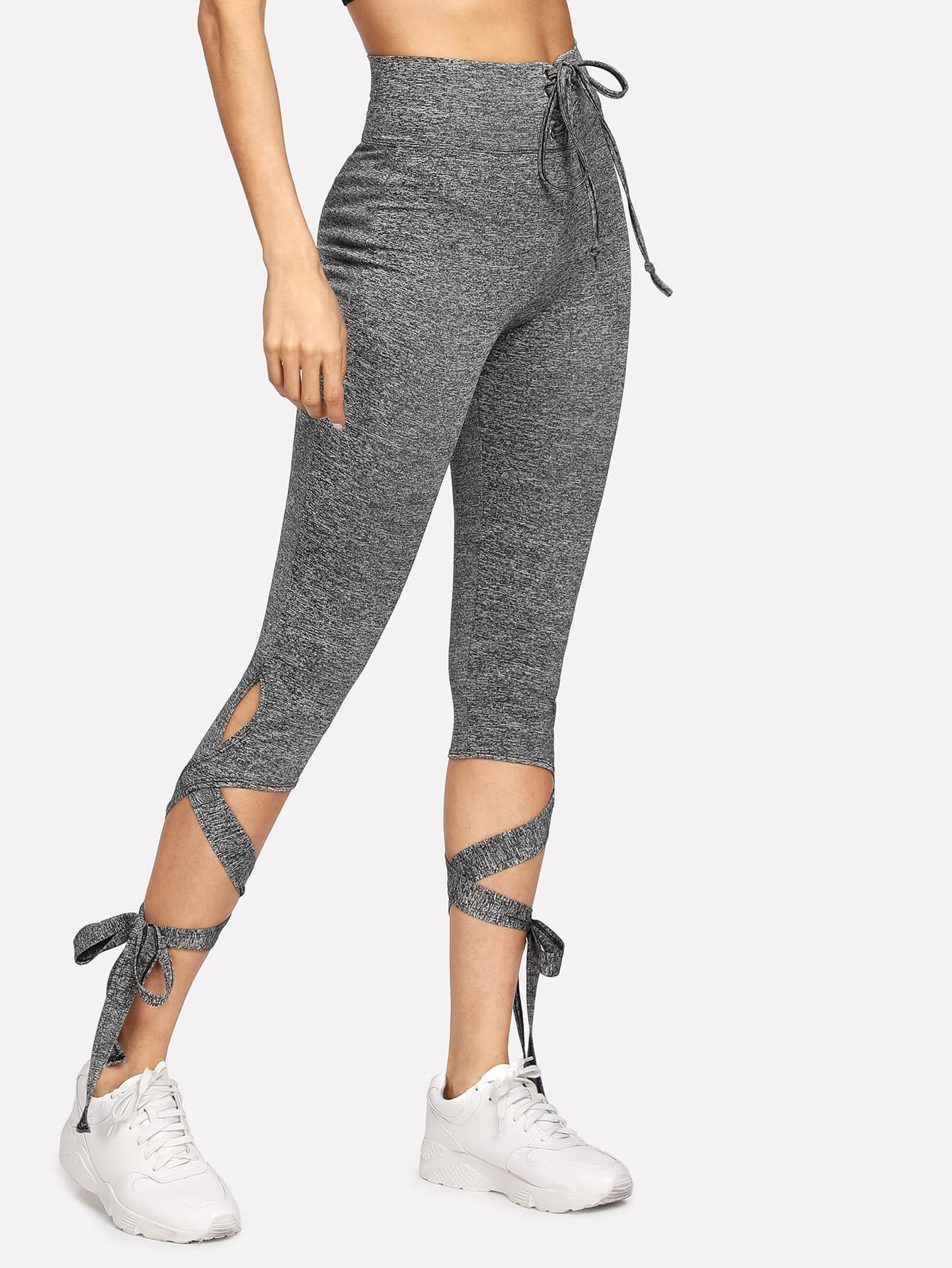 Lace Up Waist Marled Knit Leggings grommet lace up marled knit crop sweatshirt