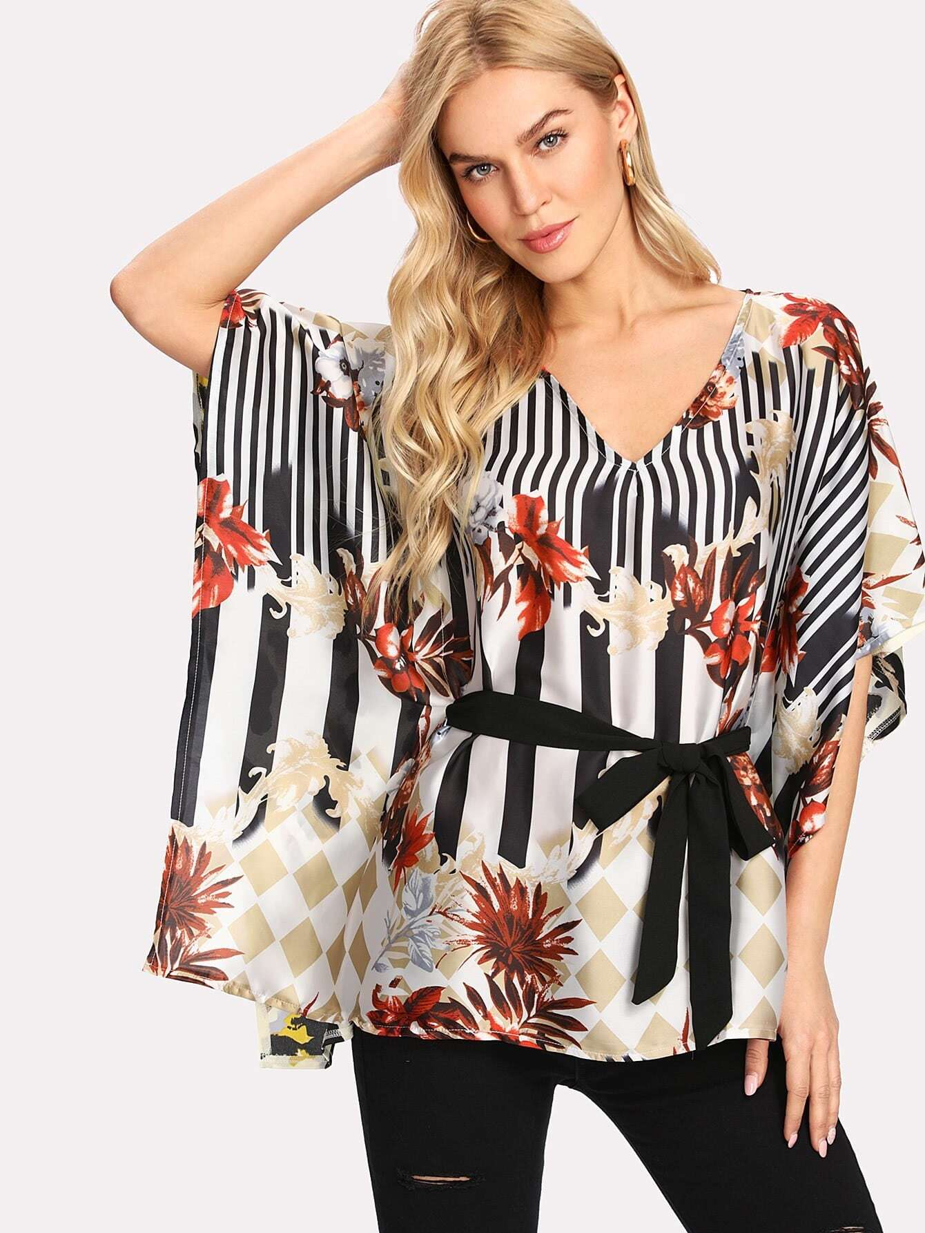 Mixed Print Belted Poncho Top