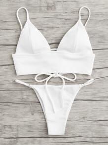 Lace Up Back Bikini Set