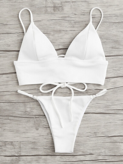 Lace Up Back Bikini Set
