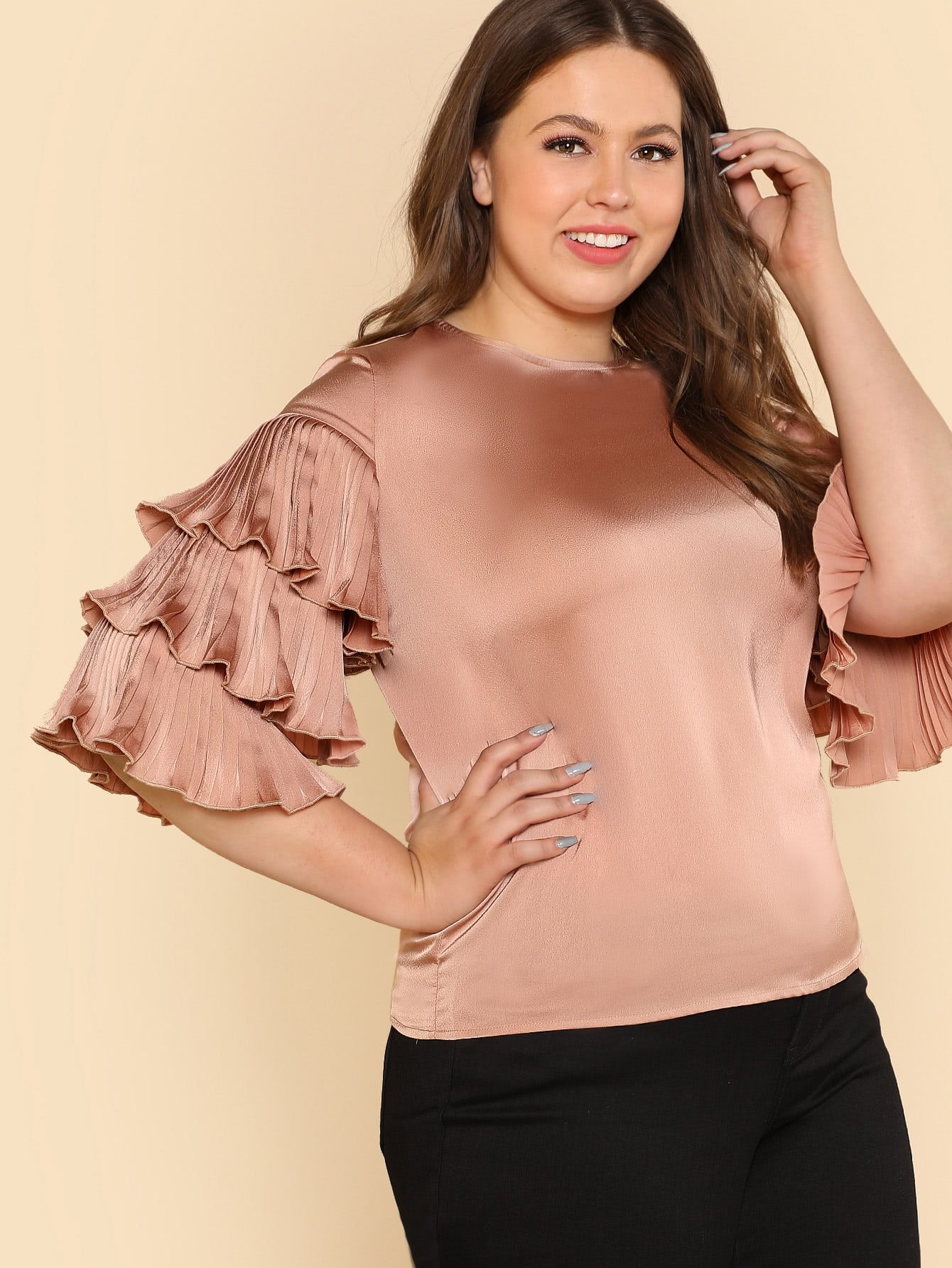 Pleated Layered Sleeve Top layered pleated ruffle sleeve solid top