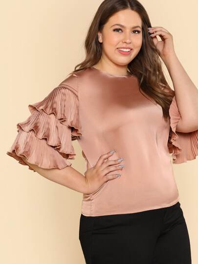 Pleated Layered Sleeve Top