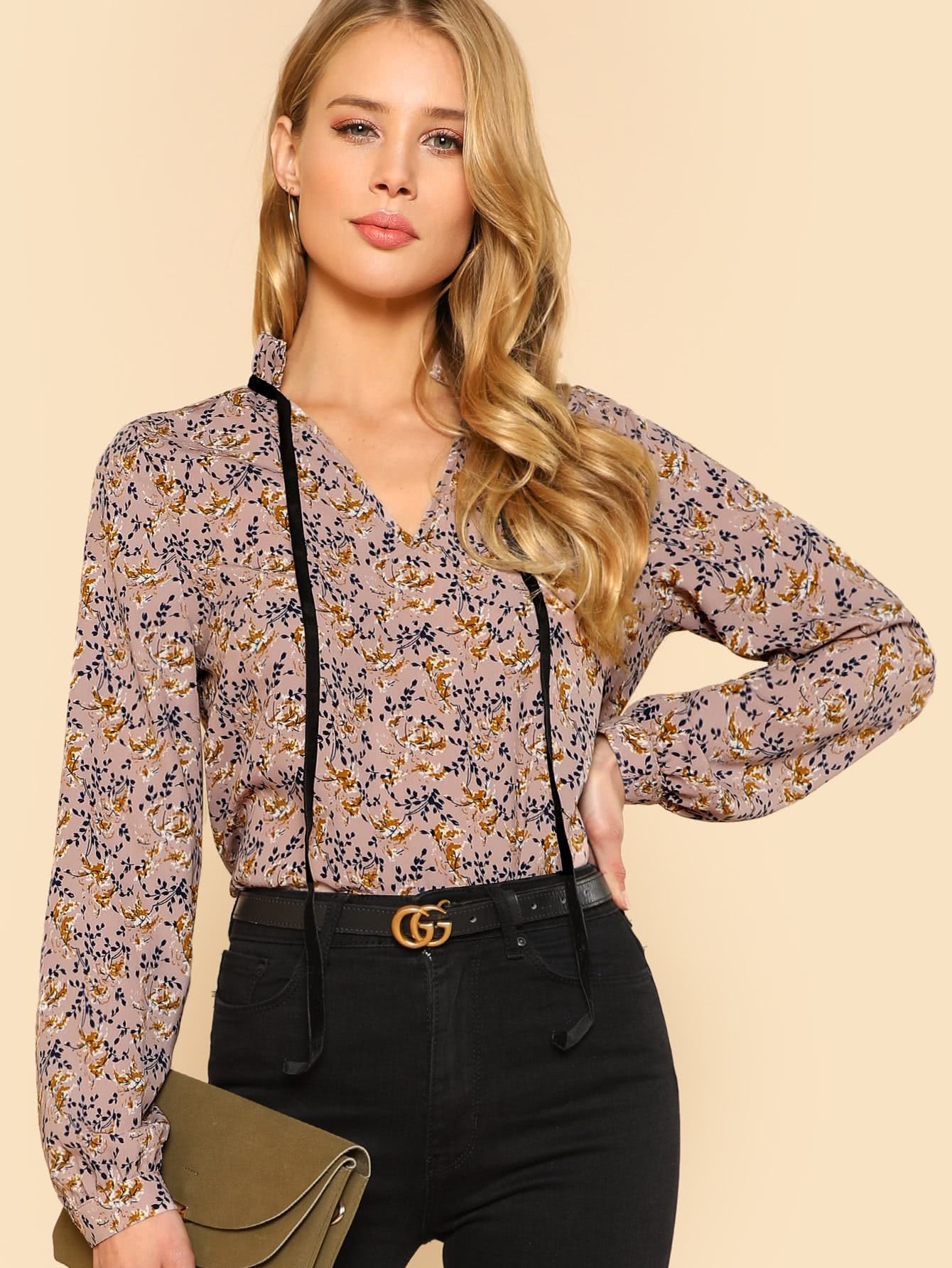 Купить Модная блуза с бантом и оборкой, Allie Leggett, SheIn