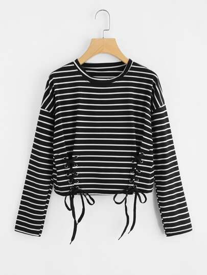 Eyelet Lace Up Striped Tee