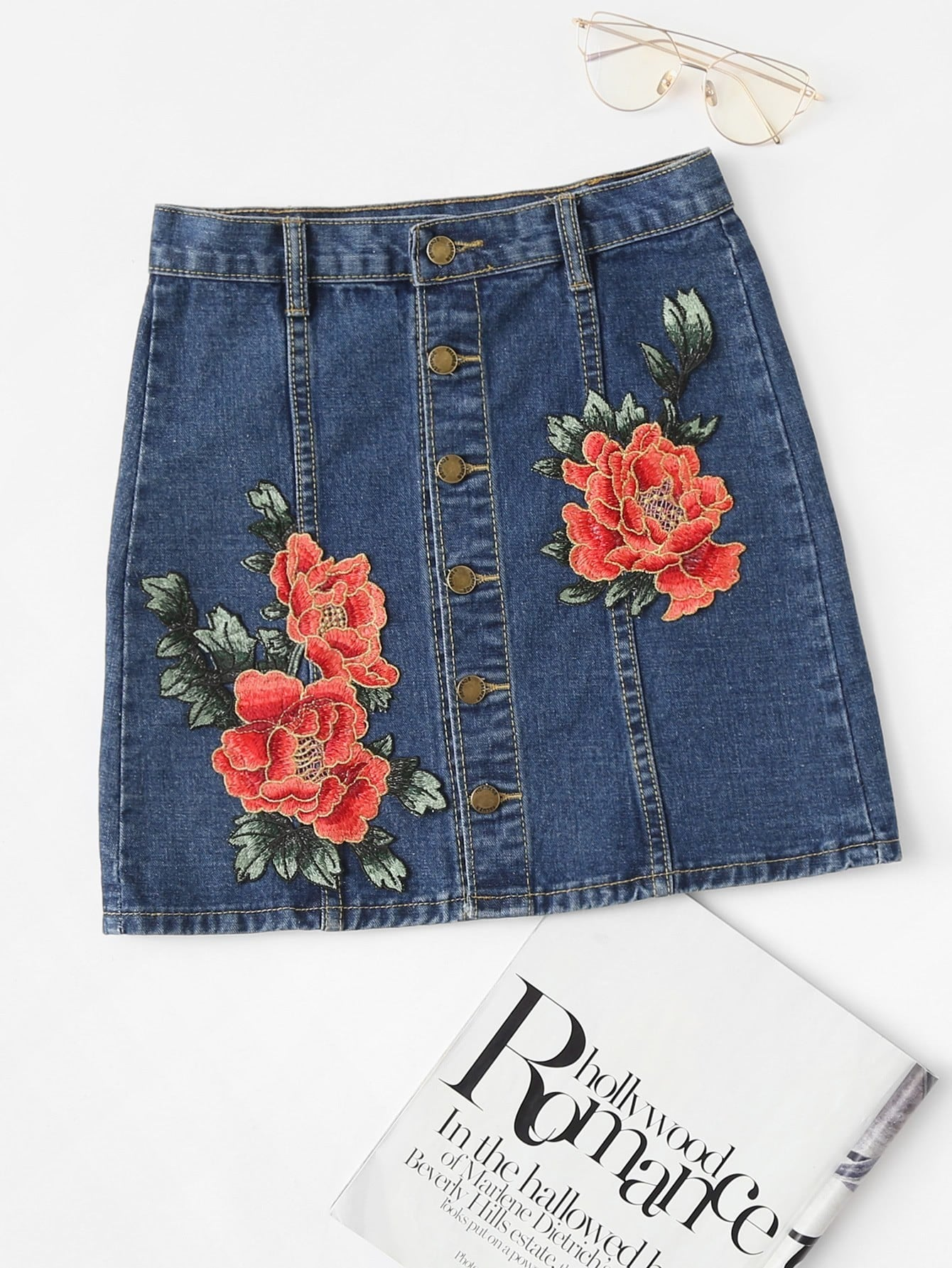 Flower Appliques Button Front Denim Skirt