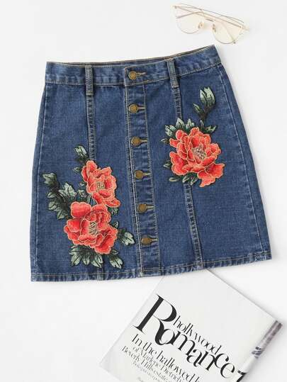 Gonna di jeans con applique di fiore