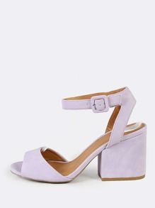 Ankle Strap Low Chunky Heels LAVENDER