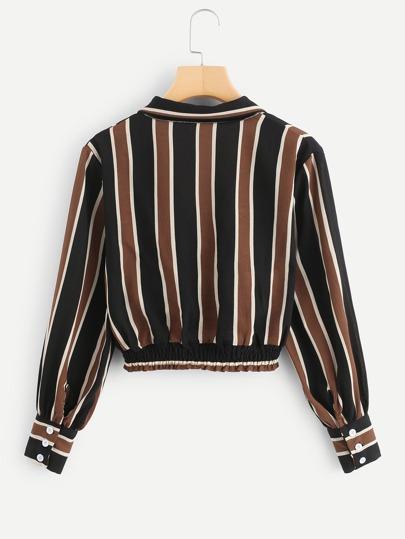 Romwe / V Neckline Striped Wrap Crop Top