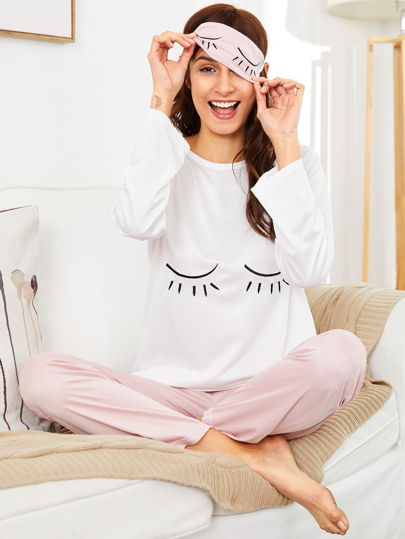 Eye Embroidered PJ Set With Eye Mask