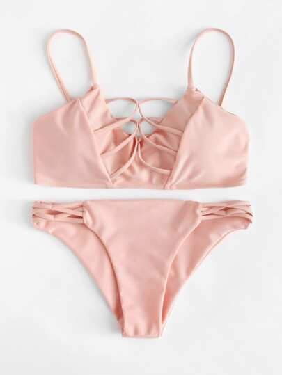 Criss Cross Plain Bikini Set