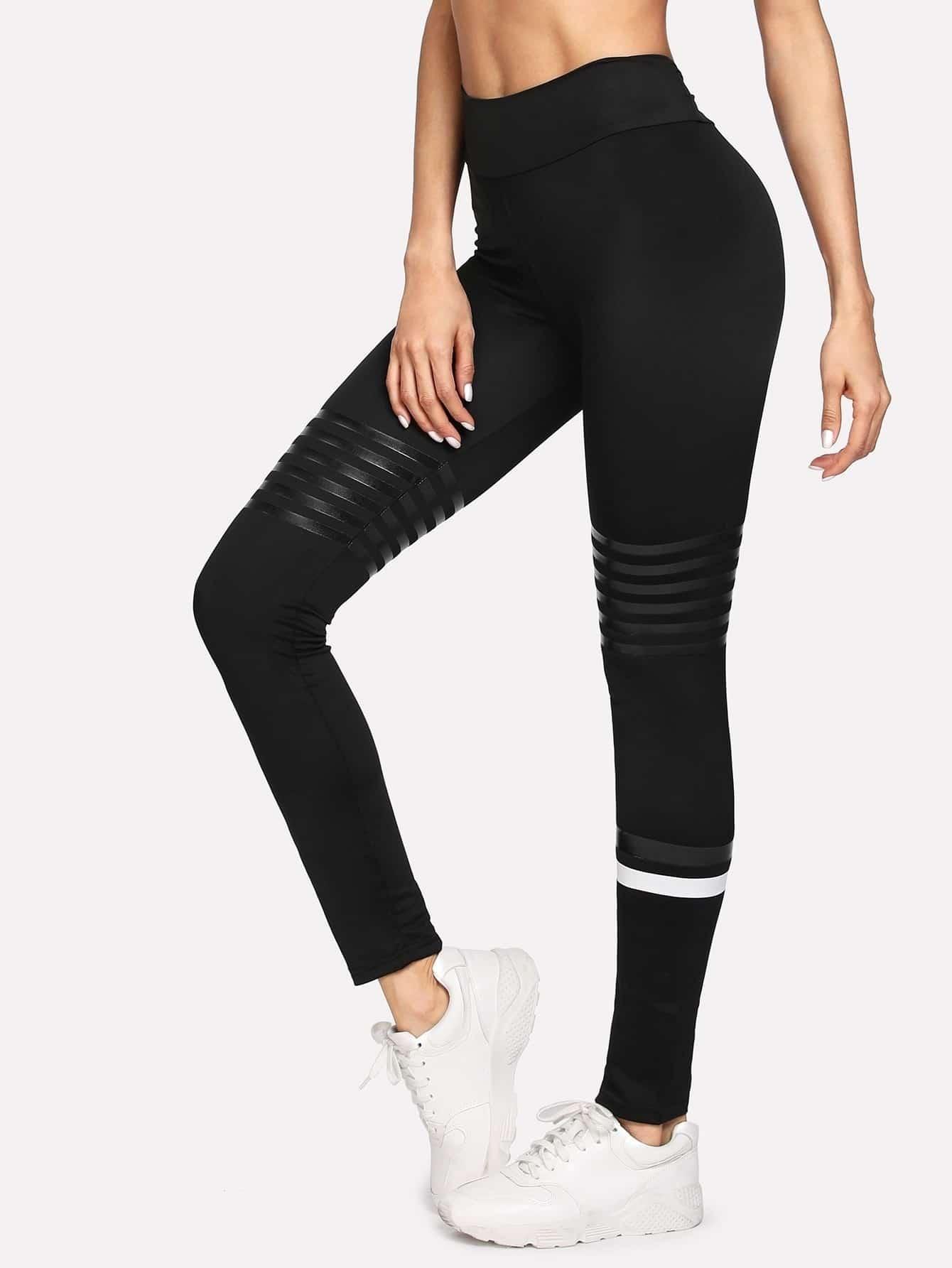 Striped Tight Leggings asymmetric striped leggings