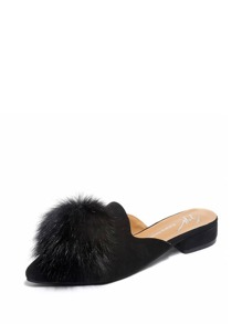Pom Pom Decor Pointed Toe Flat Mules